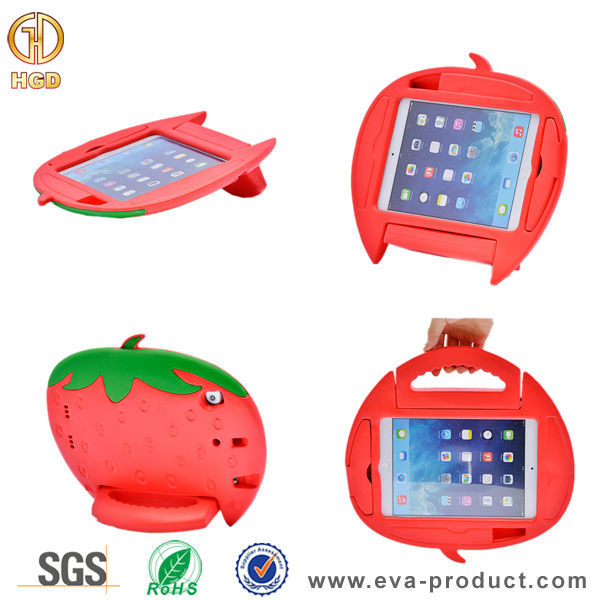 Strawberry Design Kids Friendly Case For iPad Mini ,Safe Kids Shockproof Case For iPad Mini 2