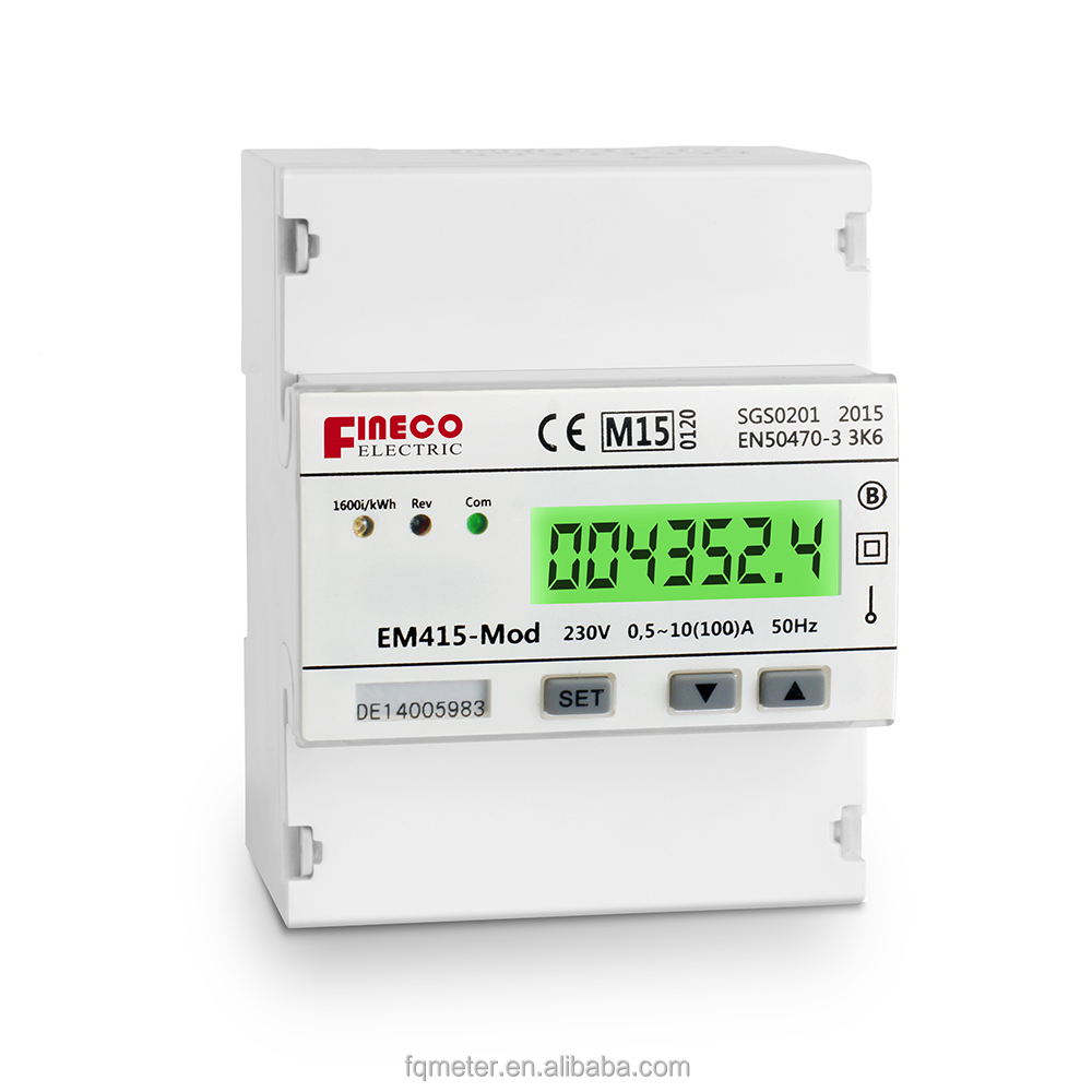 EM415-Mod 220/230V 10(100)A MID approved single phase rs485 smart electric din rail power meter