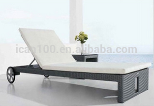 High quality leisure furniture aluminum and PE rattan sun lounger