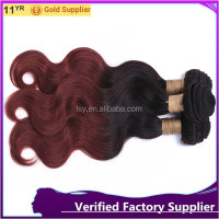 "8"" wholesale price factory supply virgin hair extension two tome remy hair weft omber body wave virgin hair bundles"