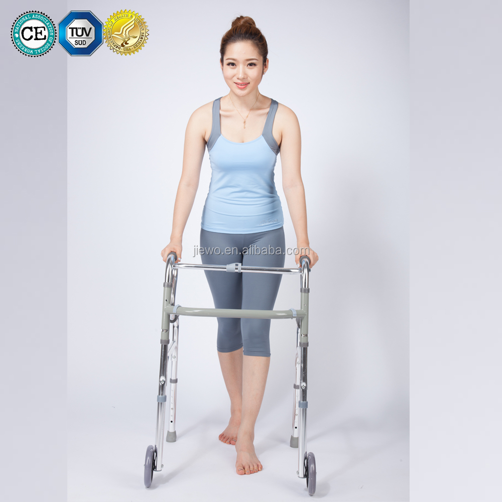 Wholesale walker Aluminum one button folding rollator walker for elderly and disabled