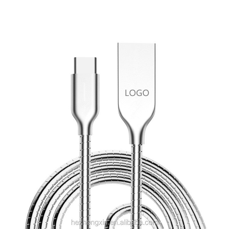 Best price Funny Metal Coiled Flexible Zinc alloy Phone Type-C data cable for huawei xiaomi