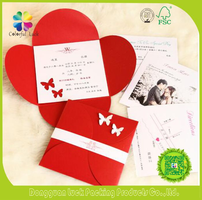 Lucky Red Beautiful 4 Petals Foldable Design Wedding Invitations with Customized Printing Inserts