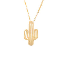 New Trending Products Cheap Fashion Simple Ladies Fancy Items Gold Cactus Necklace Jewelry