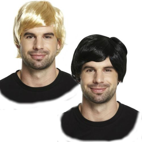 New Adult Mens 60s 70s 80s Short Boy Band Wig Fancy Dress Human Hair Wig Accessory KU94