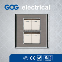 Transparent Panel 4gang electric modular switch with chrome side