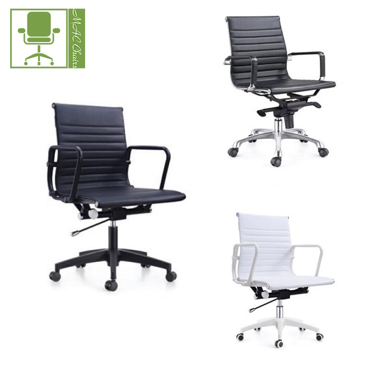 PU Leather Executive Computer Desk New Modern Ergonomic Mid Back Office Chair