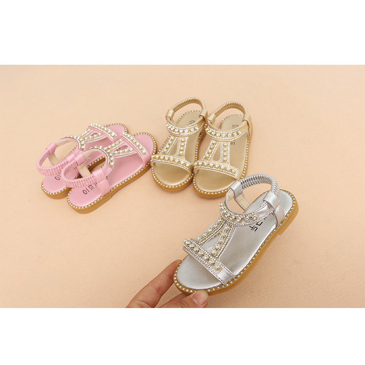 Summer New Girls Sandals Solid Color Diamond Princess Shoes Children Sandals Baby Beach Shoes