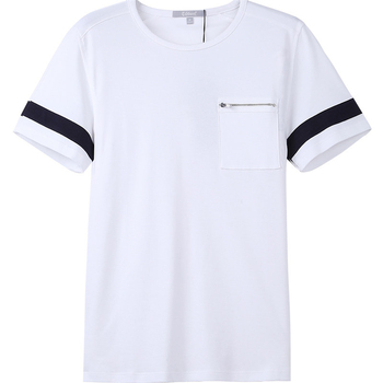 Showlands PreShrunk Two-Tone Sleeve Front Pocket T-Shirt With Zipper