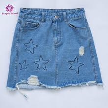 Modern ripped design light blue hot sexy girls short jeans denim skirt