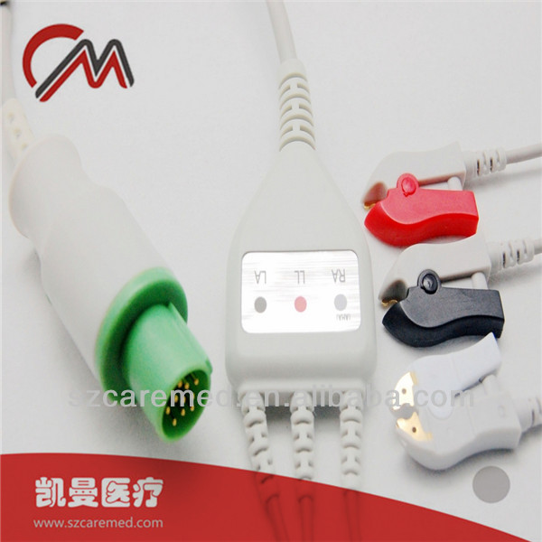 Compatible GE Hellige one piece 3 lead ecg/ekg cable,clip,AHA
