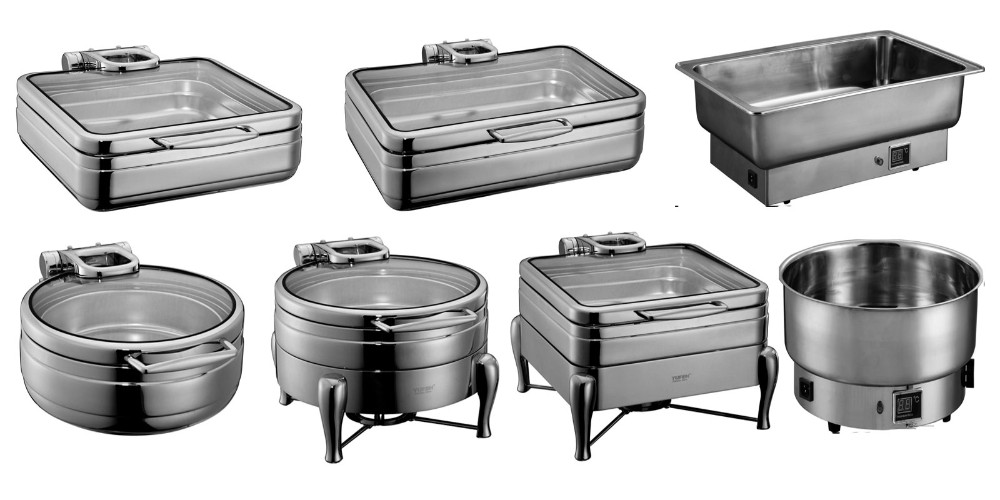 Stainless steel food warmer hydraulic chafing dish with glass lid