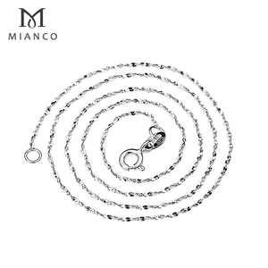 Mianco Wholesale 925 Sterling Silver Byzantine Slim Chain Water Wave Chains For Pendants MC5S