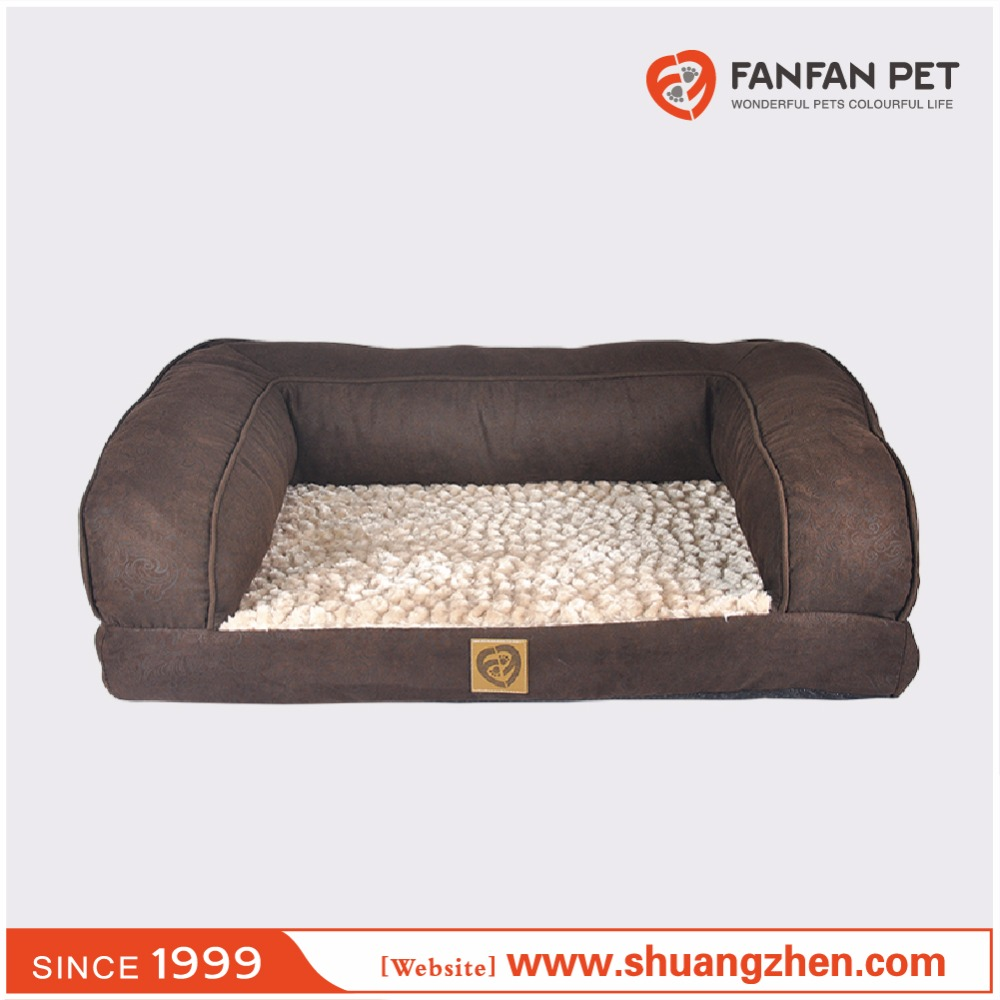 Luxury rectangular deep seated bolster plush pet dog and cat sleeper
