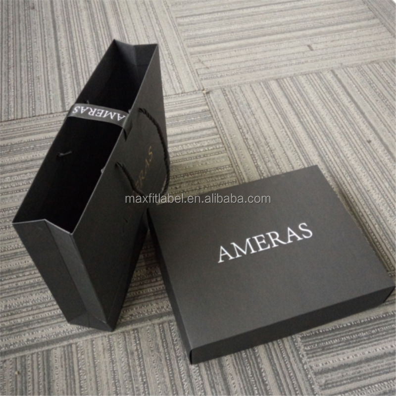 high end fancy eco friendly black card paper bag for charcoal