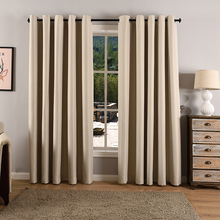 Simple European Style Fuax Linen Fabric Curtains Grommet Blackout Drapes for Living Room/Hotel/Bedroom/Office