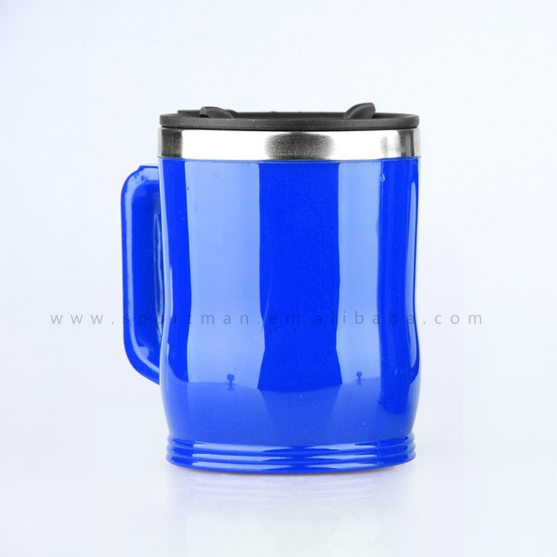 400ml 14oz wide mouth double walled plastic coffee mug beer mug