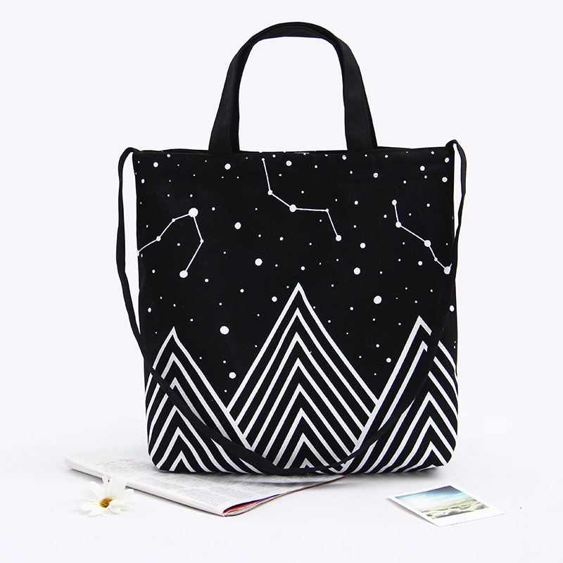 Characteristic star pattern double strap fashionable canvas tote bag
