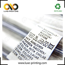 Logo custom printing design satin 100% cotton wool wash care label