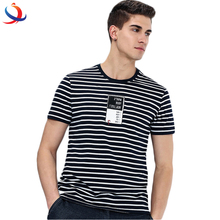 Mens Blue White Stripe T-shirt And Summer Top Tee With Short Sleeve