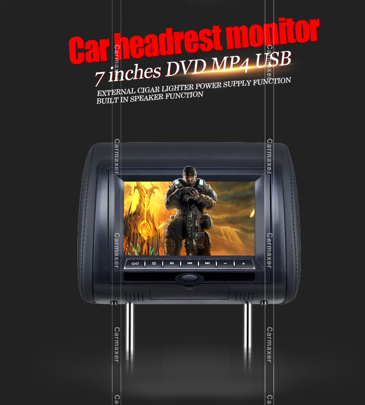 7inch 9inch dvd headrest monitor with cover zipper
