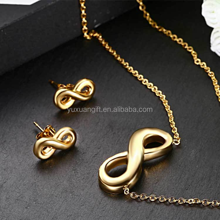24K Gold Plated Stainless Steel Jewelry 2016 Infinity Symbol Jewelry Set For Women