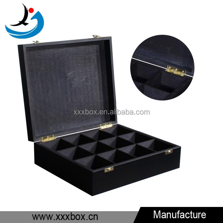 Empty matte finish black tea wood box with 12 compartments