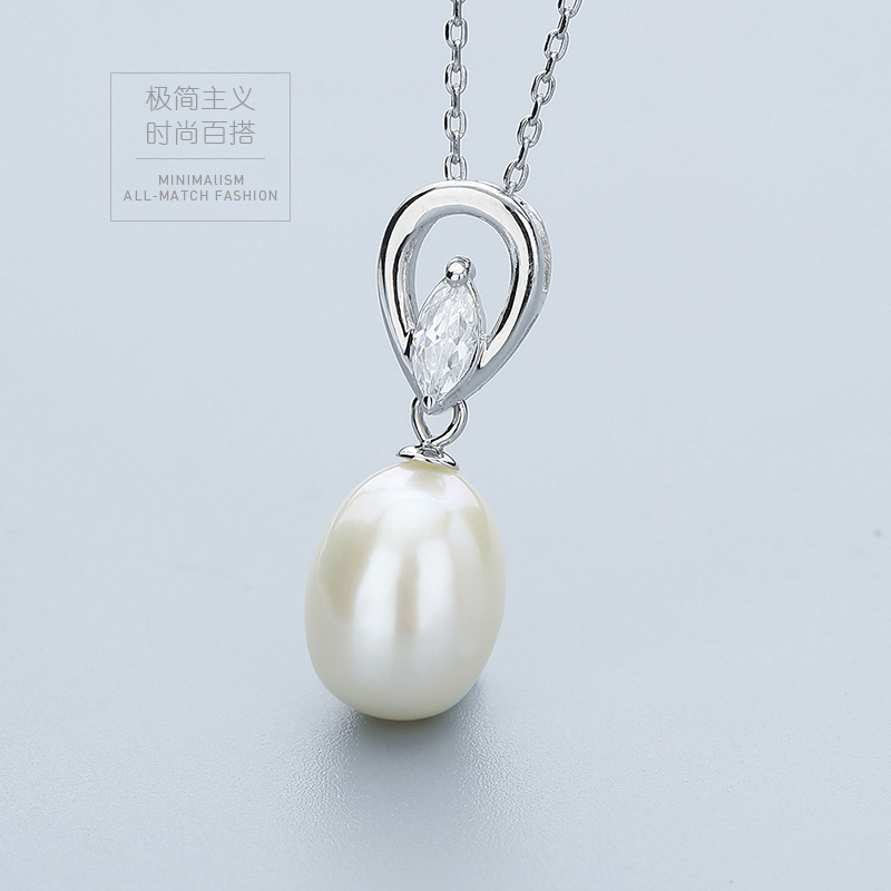 Jewelry Display Charm 925 Sterling Silver Pendant Water Drop 8.8'' Freshwater Pearl Necklace Pendant