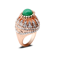 Vintage European Style Green Ball Jade Statement Finger Rings Mushroom Shape Ring Accessory For Elegant Lady
