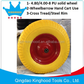 Flat Free wheelbarrow tyre 4.80/4.00-8 Solid Pu Foam Tire