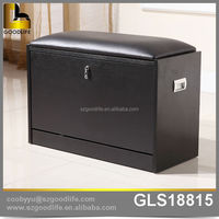 Black shoe storage stool ,shoes changing stool with confortable sponge cushion