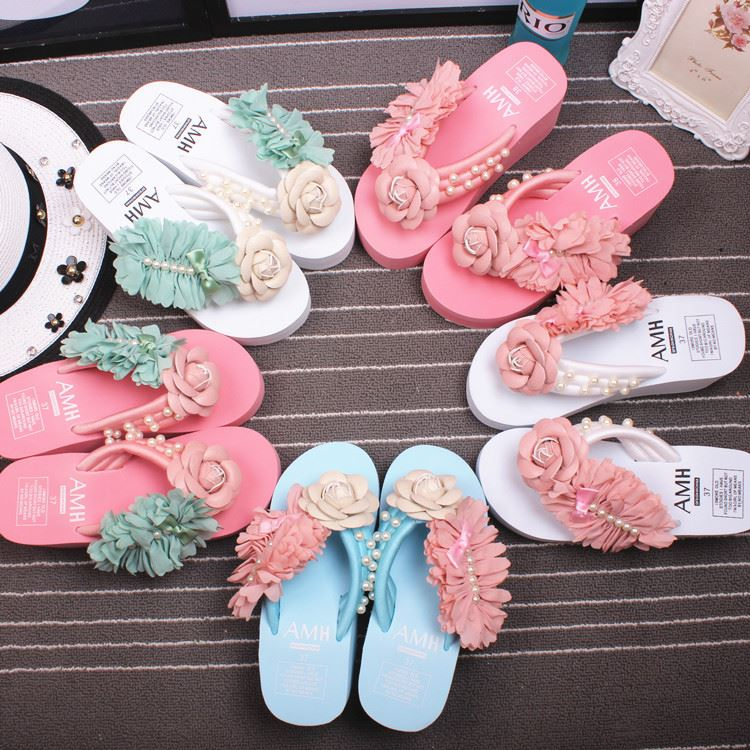 guangzhou slippers good quality wedge heel slippers wedding flip flops for women