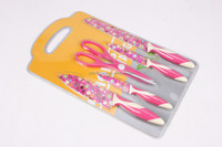 Yangjiang different flower version 5pcs non-stick coating chinese kitchen knife