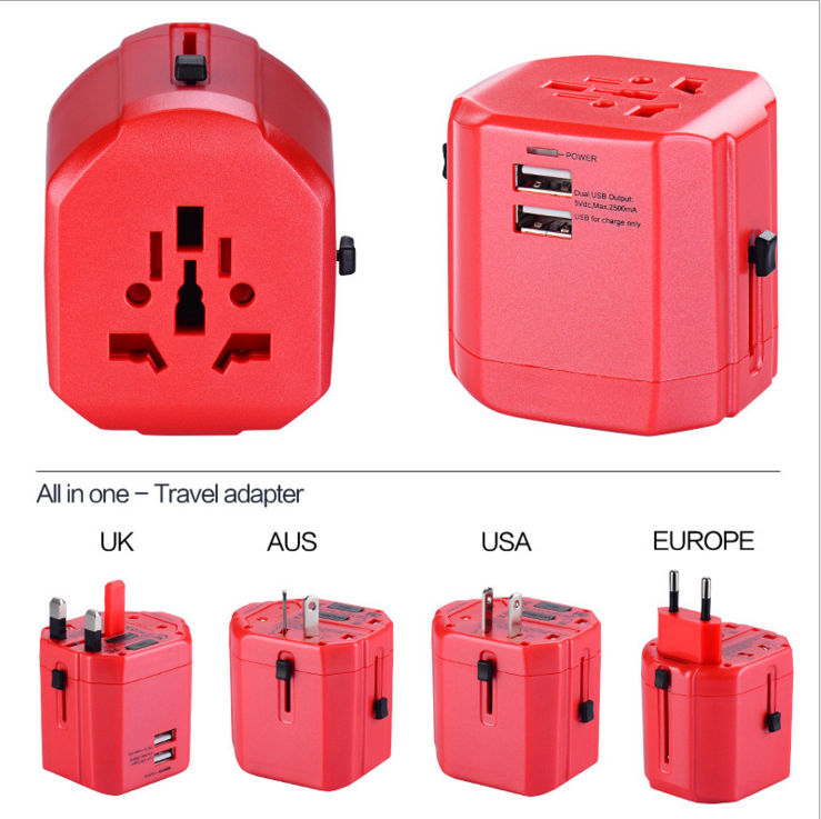 Christmas gift All ine one Portable Universal Travel Adapter with USA/Australia/Europe/UK Worldwide Plugs mobile iphone charger
