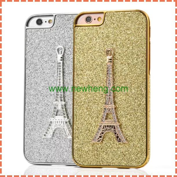 Hot selling Eiffel Tower Bling Diamond Plating Hard Plastic Case For Iphone 6S