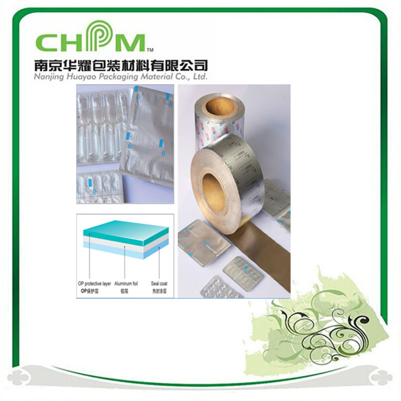 PTP Blister Printed pharmaceutica filmand alu film and Aluminum film with HSL and OP coating