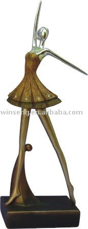 Polyresin gold ballet Figurine with base
