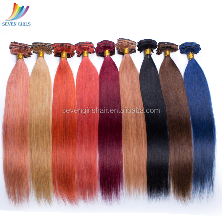Wholesale Full Head Clip in Indian Remy Human Hair Extensions For Black Women