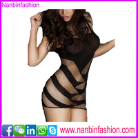 2016 hot sale black see-through lingerie sex babydoll dress