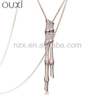 OUXI 2015 Bamboo shape fashion jewelry sweater chain with Austria crystal