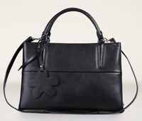 nice quality black women paris brand handbags cowhide leather satchel bag/tote bag Q-S-L148 OEM