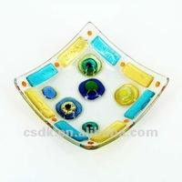 Multi color original signed square fused glass art glass dish plate