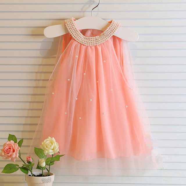2016 Summer Girls Pleated Chiffon One-Piece Dress With Pearls Collar Children Clothes For Kids Baby