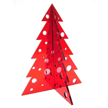 Wholesale Custom Red Acrylic Christmas Tree Tabletop Decorations with circles