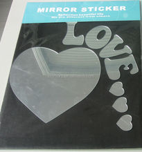 Romantic Loving heart shaped wall mirrors/silver adhesive mirror decal/acrylic 3d flexible mirror sticker
