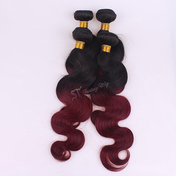 1B/ 99j ombre hair sew in human hair weave 14 inch body wave