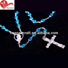 Huanan latest design chain rosaries blue heart 59 beads scarf rosary necklace