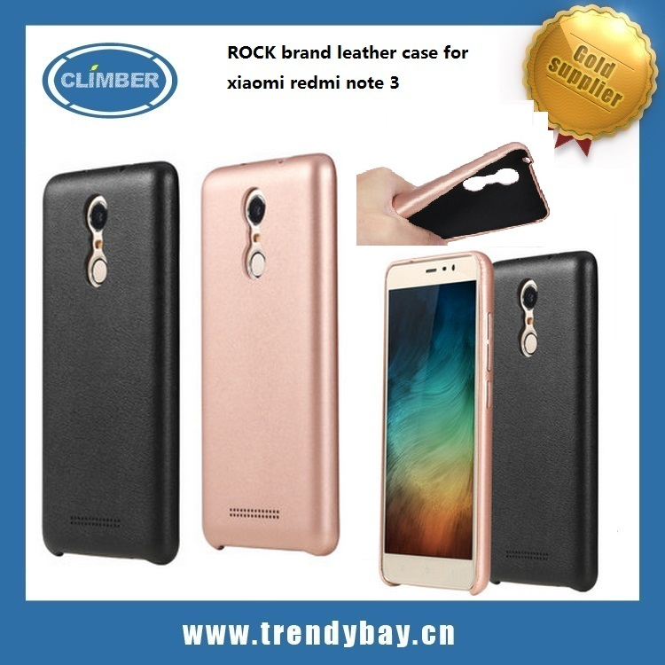 2016 new product ROCK brand leather case for xiaomi redmi note 3 case