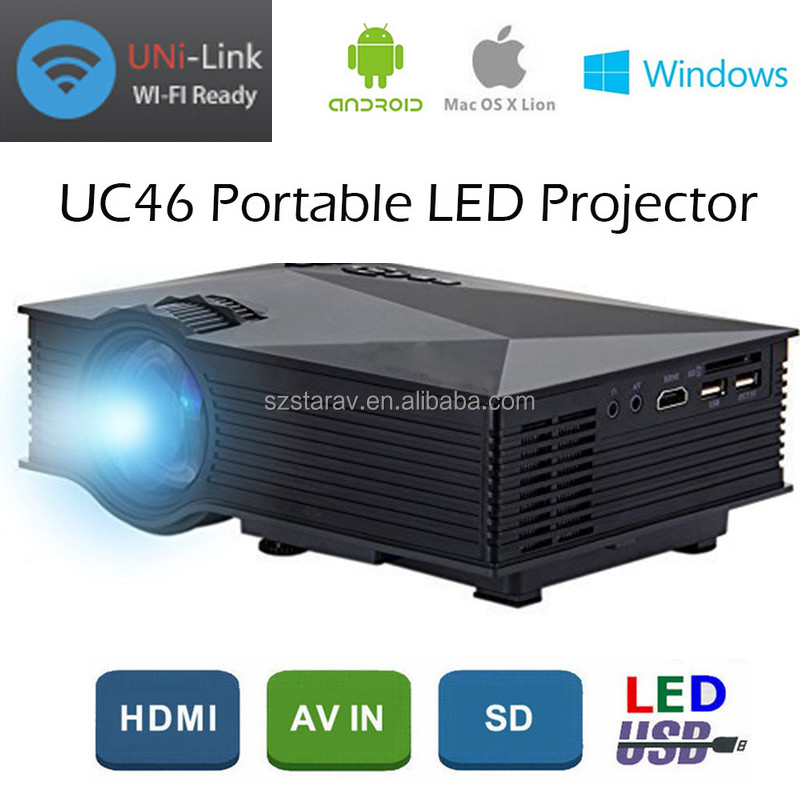 2017 New Wireless Connection 1200lumens LED projector, home theater wifi projector UC46
