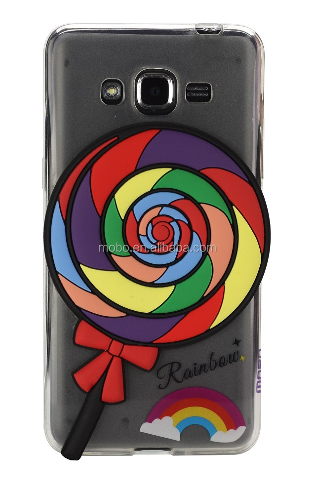 Delightful slim and soft TPU cheap mobile phone case with PVC decoration